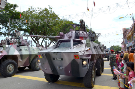 KUANTAN, MALAYSIA - AUG 31: Armored vehicle at participates in the National Day and Malaysia Day Parade, celebrated the 55th anniversary Independence on August 31, 2012 in Kuantan, Pahang, Malaysia