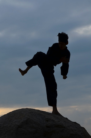 Silhouette of young boy performing a pencak silat, Malay traditional discipline martial art photo