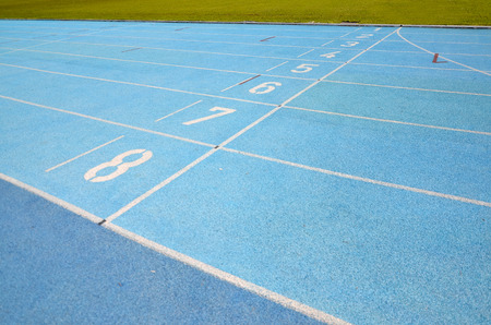 Starting grid of running track in the stadium  Stock Photo - 28250280