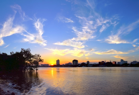 pahang: View from Kuantan river side of Kuantan town, Pahang, Malaysia during sunset