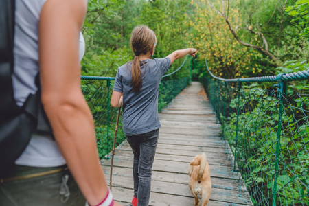 Mother and daughter walking over wooden suspension bridge with small yellow dog in the forest