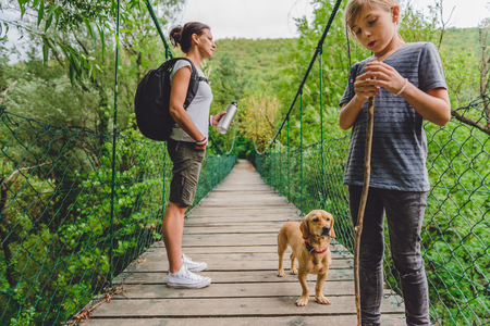 Mother and daughter standing on wooden suspension bridge with small yellow dog in the forest