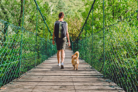 Women and small yellow dog walking over wooden suspension bridge in the forest 免版税图像