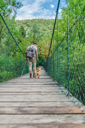 Hiker with small yellow dog walking over wooden suspension bridge in the forest 免版税图像 - 85011258
