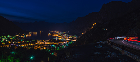Bay of Kotor at night during dusk 免版税图像 - 86567396