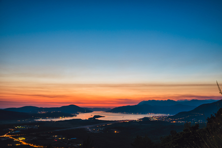 Bay of Kotor at night during dusk 免版税图像