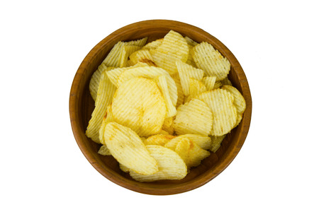 flavouring: potato chips in an earthenware dish Stock Photo