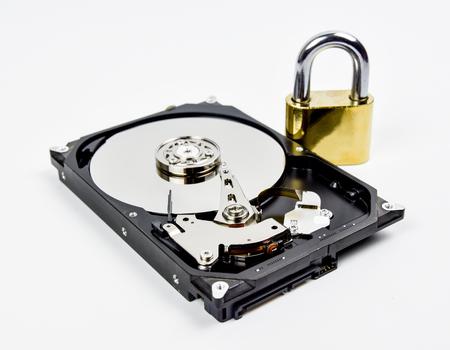 Hard disk open  on white background.