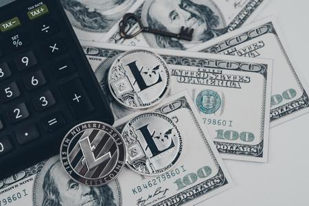 Litecoin golden coin New virtual money and dollar background .