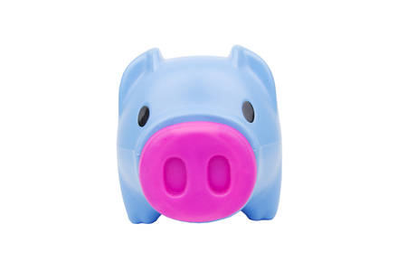 Blue piggybank pig and pink nose on white background