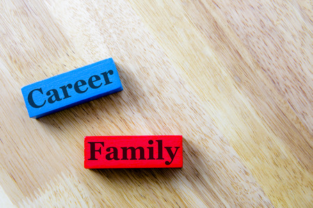 family and career word concept. family and career Word Written In Wooden Cube