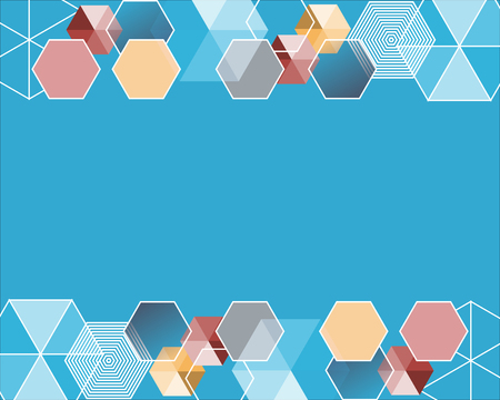 Background template with blue hexagon shapes illustration Иллюстрация