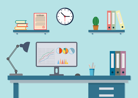 office with desk and accessories flat to work Иллюстрация