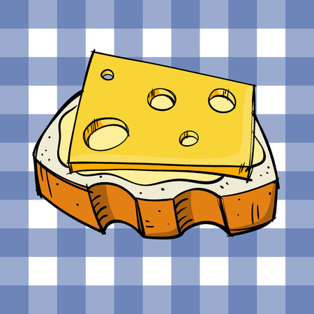 cheese bread: Bread and cheese Illustration