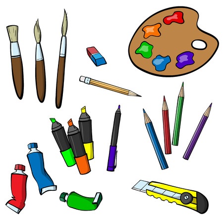 Set of varied items for drawing Ilustracja