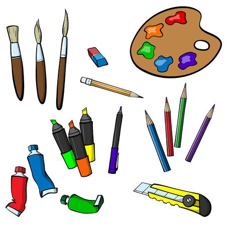 palette knife: Set of varied items for drawing Illustration