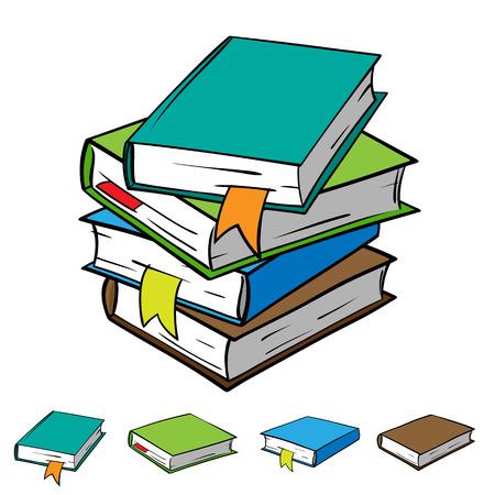 Stapel van vier boeken met bookmarks Stock Illustratie