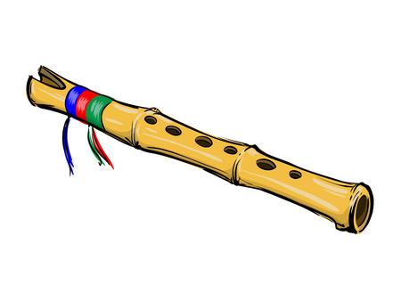 cartoon wind: Bamboo flute Illustration