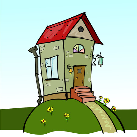 Cute cartoon house with red roof on a green hill
