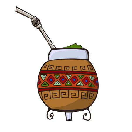 yerba mate: Calabash, decorado con adornos Vectores