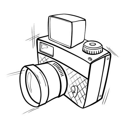 Cartoon zwart-wit schets van een fotocamera