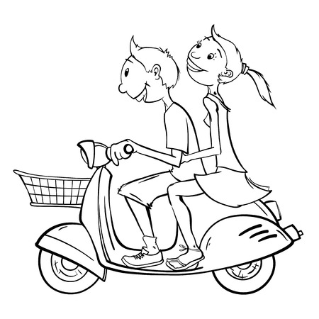 Boy and girl on a scooter Ilustracja