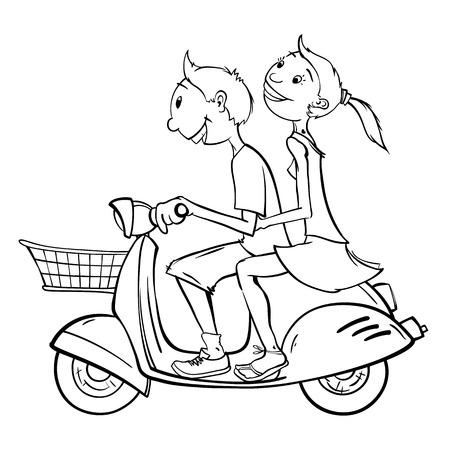 Jongen en meisje op een scooter