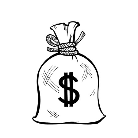 packed: Tightly packed bag, tied with a rope, with a dollar sign on its side