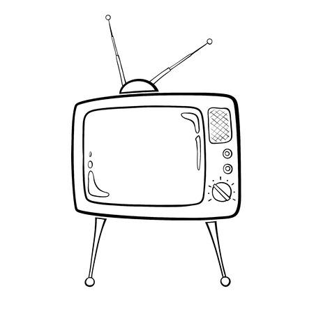 Contour beeld van het tv-toestel in retro stijl