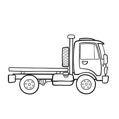 Contour image of a small truck with a platform for transportation of goods Ilustracja