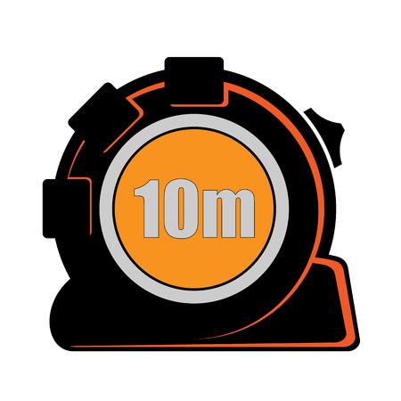 platte gestileerde afbeelding van gemeten roulette in zwart en oranje kleuren