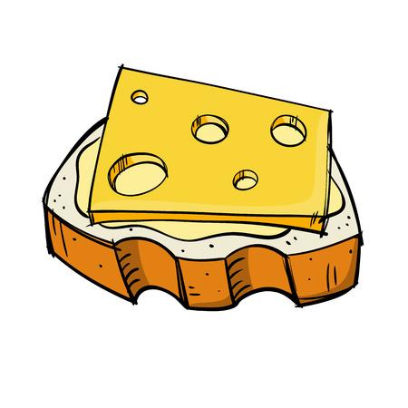 schetsmatig beeld van een stuk brood met boter en kaas Stock Illustratie