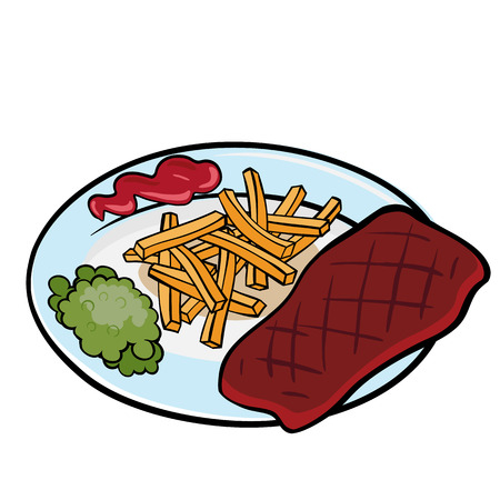 green peas: A piece of grilled meat with green peas and tomato sauce on the plate