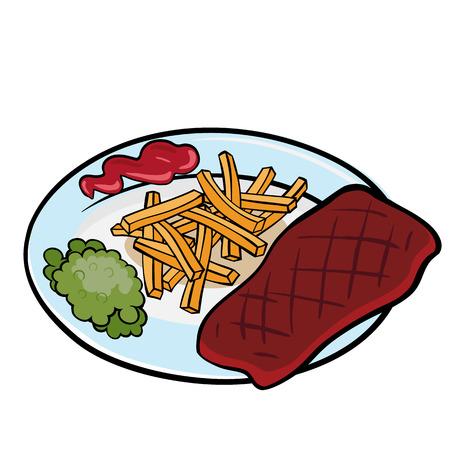 carne a la brasa: Un trozo de carne a la plancha con guisantes y salsa de tomate en el plato