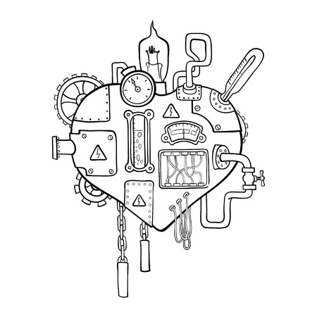 Stylized graphic image of the mechanical heart, embedded with the variety of mechanisms, pipes, wires and gears.