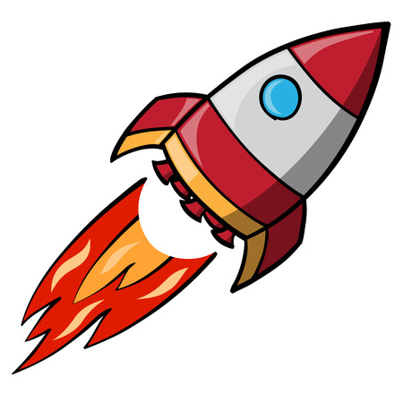 Rode cartoon vliegende ruimteraket Stock Illustratie