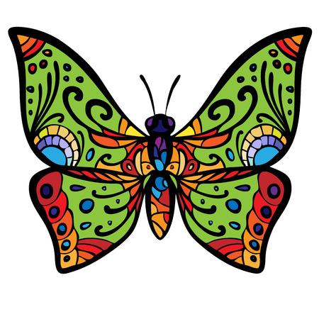 Gestileerde afbeelding van een vlinder, geschilderd in psychedelische kleuren