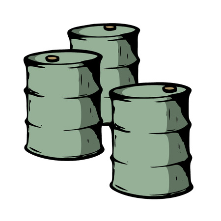 Three metal barrels on white background