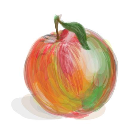 Fresh red-green apple on white background Ilustracja