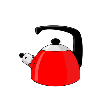 Red whistling kettle with black plastic handle on a white background
