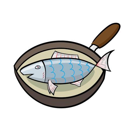 Cartoon koken vis in een koekenpan
