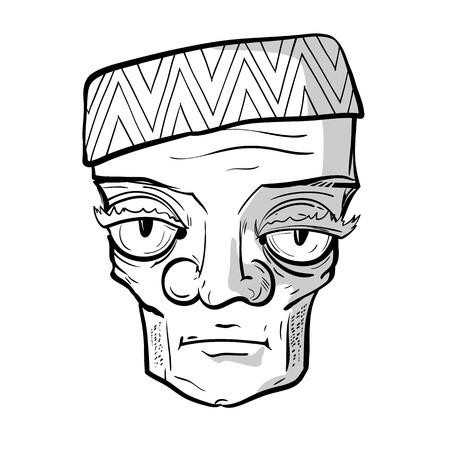 big eye cartoon: Sketchy portrait of strange sad old man. Vector graphics.