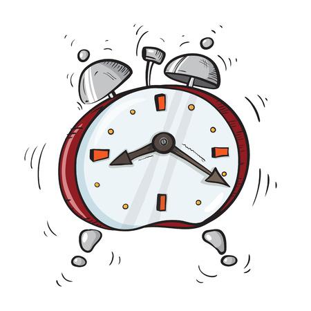 Cartoon red alarm clock ringing with metal bells.