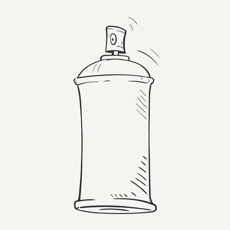 beeldverhaalschets spray kan op een witte achtergrond