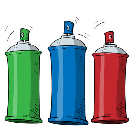 cartoon spray can in three different color on white background.