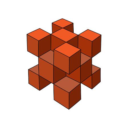 Abstracte handgetekende 3d kubus of design template. Stock Illustratie