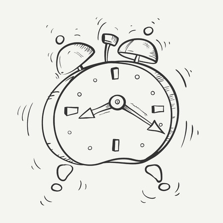 Cartoon black and white sketch of ringing alarm clock with metal bells. Vector