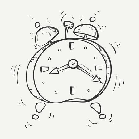 Cartoon zwart-witte schets van bellende wekker met metalen klokken. Stock Illustratie
