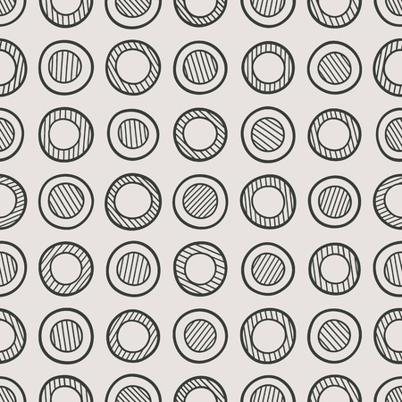 Abstract monochrome seamless pattern composed of handdrawn striped circles. Ilustracja