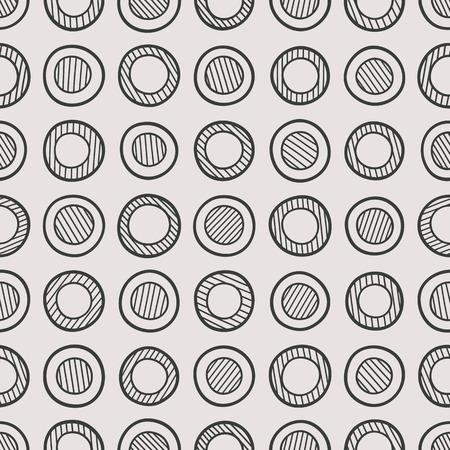Abstracte zwart-wit naadloze patroon bestaat uit handgetekende gestreepte cirkels.